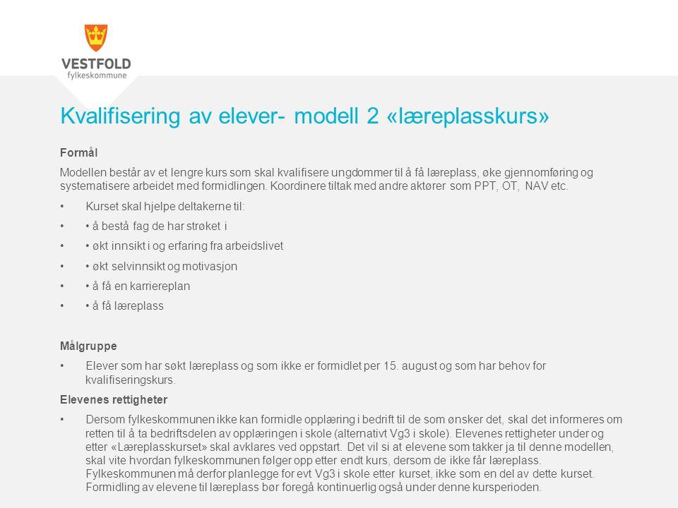 Kvalifisering av elever- modell 2 «læreplasskurs»