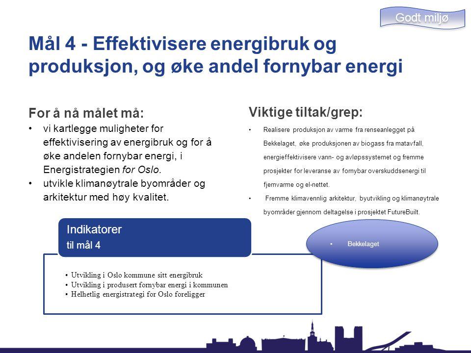 Godt miljø Mål 4 - Effektivisere energibruk og produksjon, og øke andel fornybar energi. For å nå målet må: