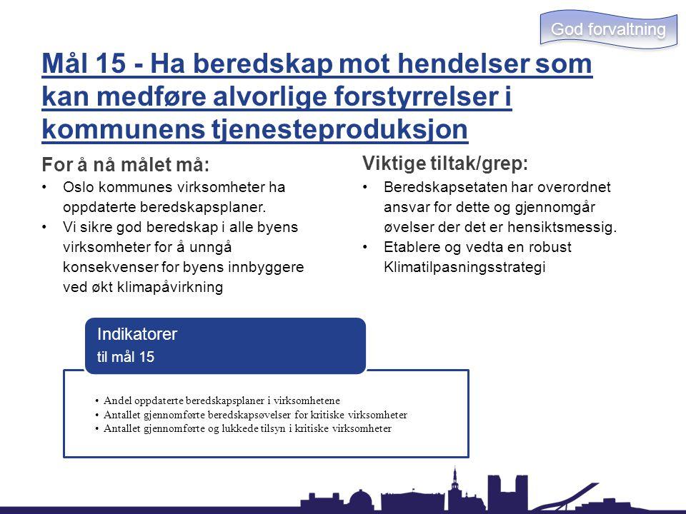 God forvaltning Mål 15 - Ha beredskap mot hendelser som kan medføre alvorlige forstyrrelser i kommunens tjenesteproduksjon.
