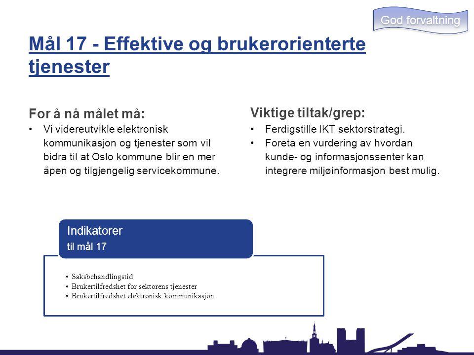 Mål 17 - Effektive og brukerorienterte tjenester