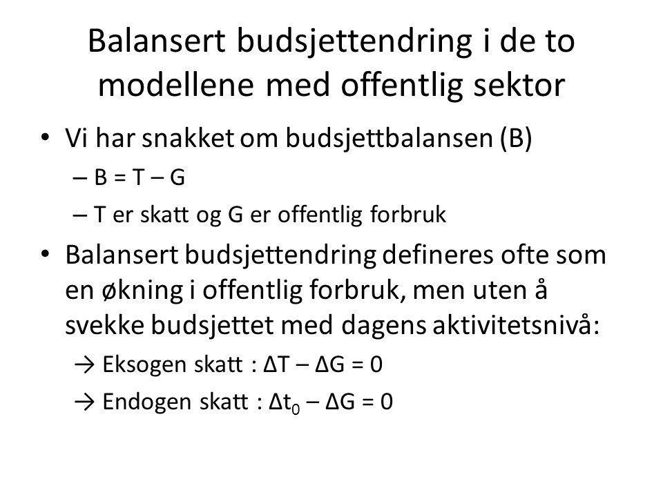 Balansert budsjettendring i de to modellene med offentlig sektor