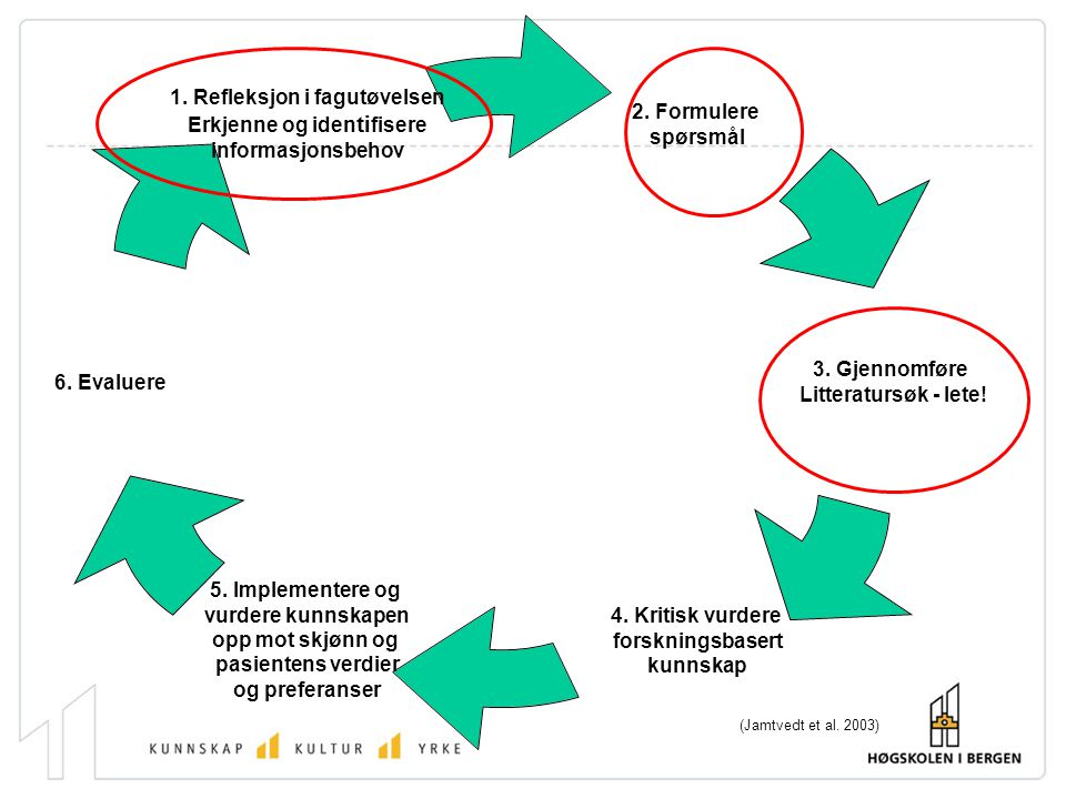Trinnene kan illustreres i en sirkel slik som her: