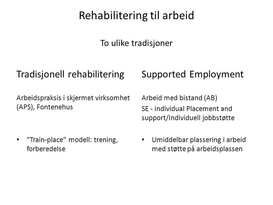 Rehabilitering til arbeid To ulike tradisjoner