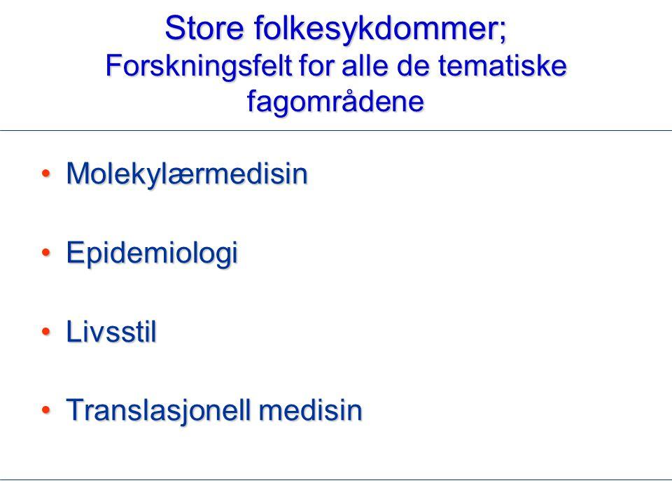 Store folkesykdommer; Forskningsfelt for alle de tematiske fagområdene