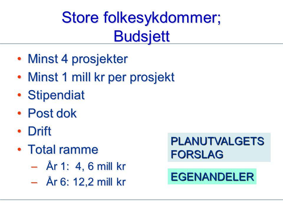 Store folkesykdommer; Budsjett