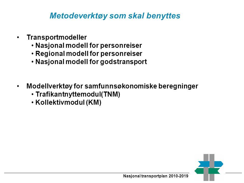Metodeverktøy som skal benyttes Nasjonal transportplan 2010-2019