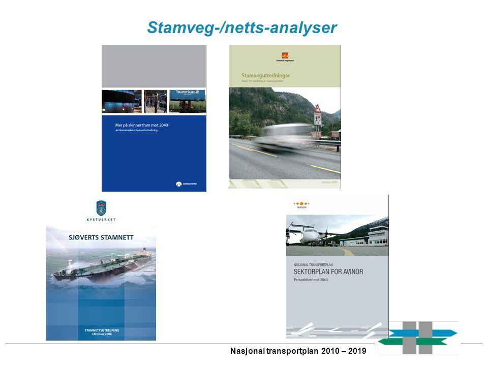Stamveg-/netts-analyser Nasjonal transportplan 2010 – 2019