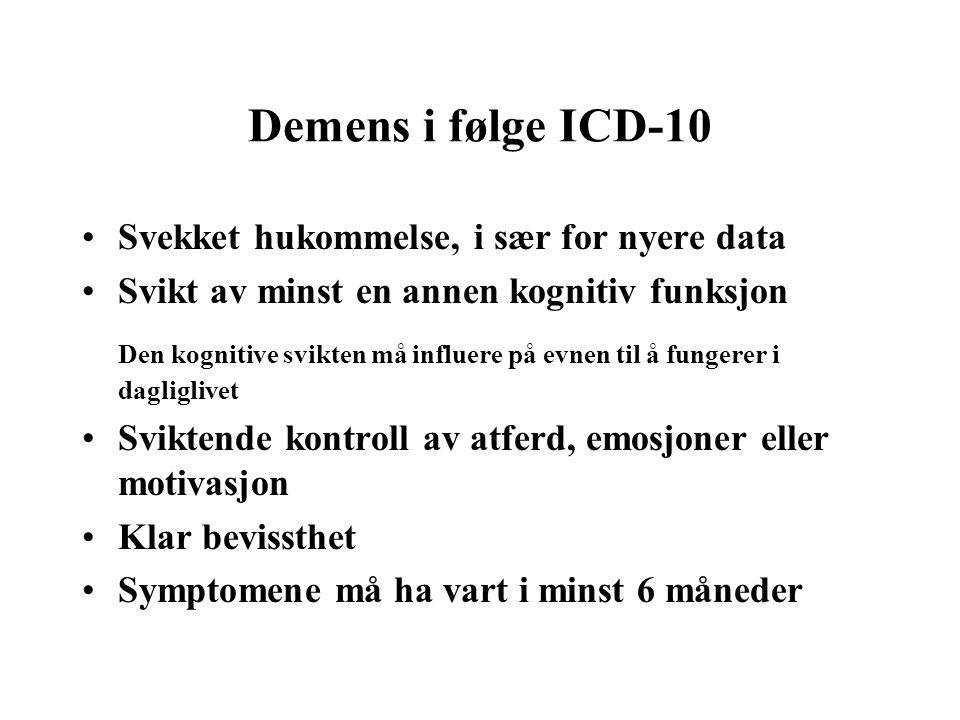 Demens i følge ICD-10 Svekket hukommelse, i sær for nyere data. Svikt av minst en annen kognitiv funksjon.