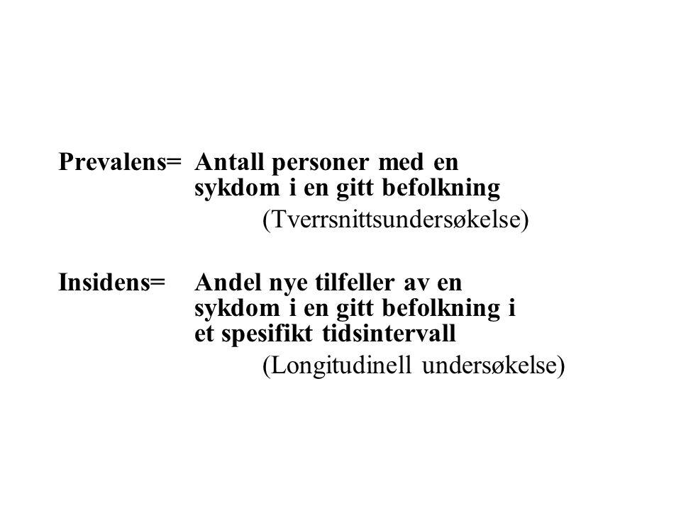 Prevalens= Antall personer med en sykdom i en gitt befolkning