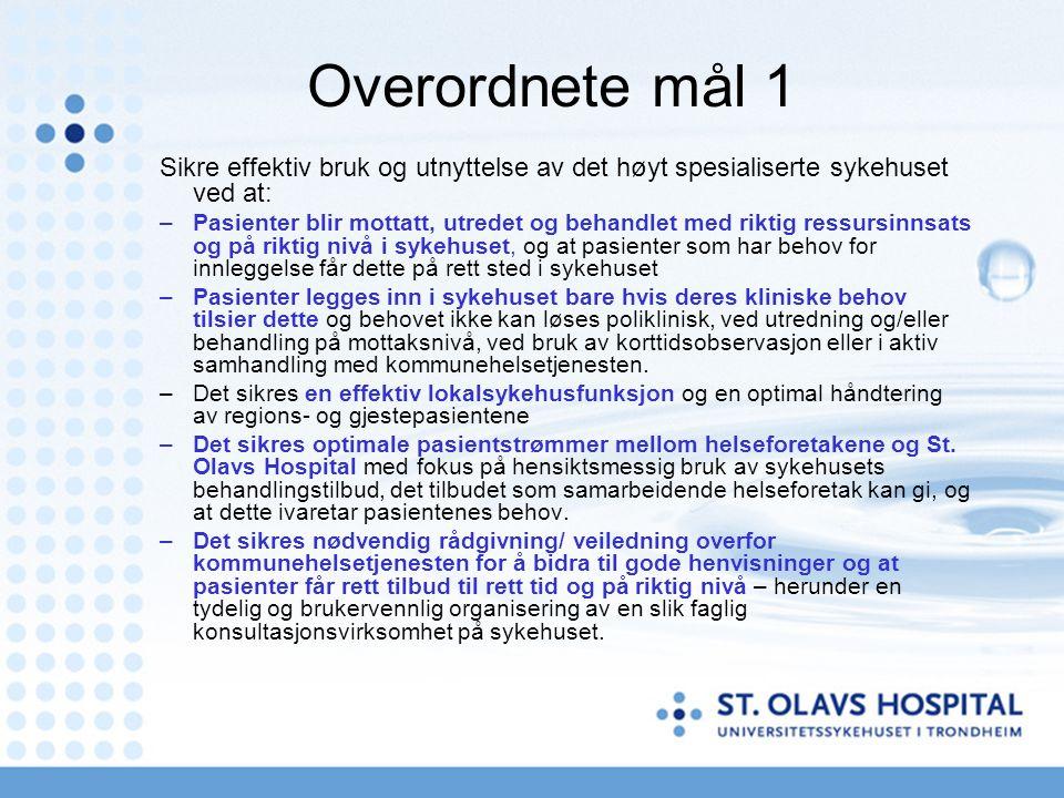 Overordnete mål 1 Sikre effektiv bruk og utnyttelse av det høyt spesialiserte sykehuset ved at: