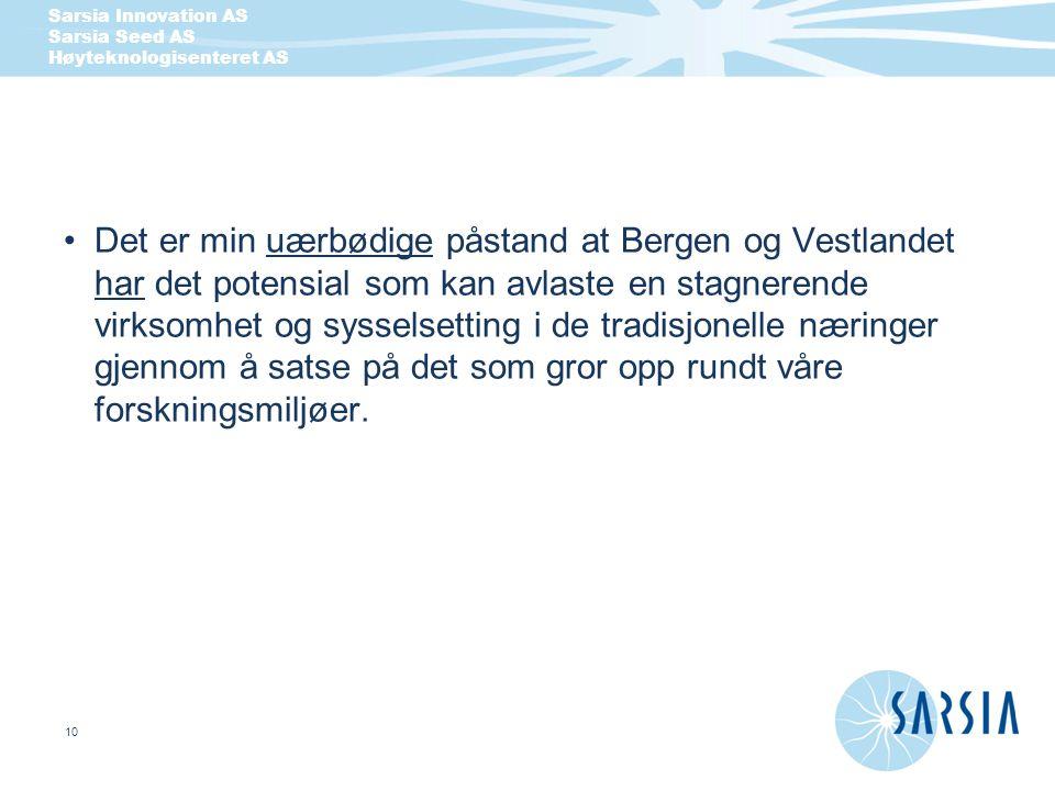 Det er min uærbødige påstand at Bergen og Vestlandet har det potensial som kan avlaste en stagnerende virksomhet og sysselsetting i de tradisjonelle næringer gjennom å satse på det som gror opp rundt våre forskningsmiljøer.