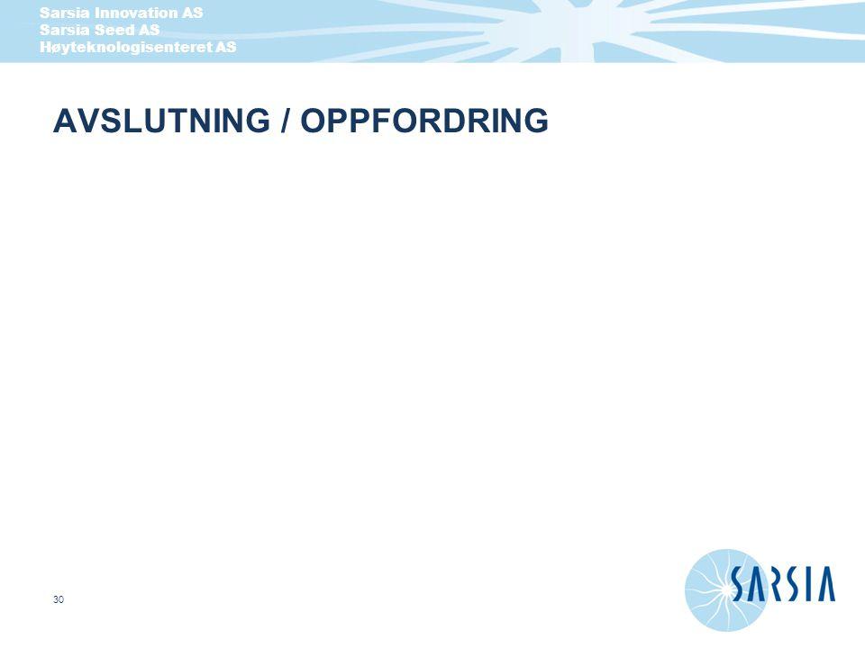 AVSLUTNING / OPPFORDRING