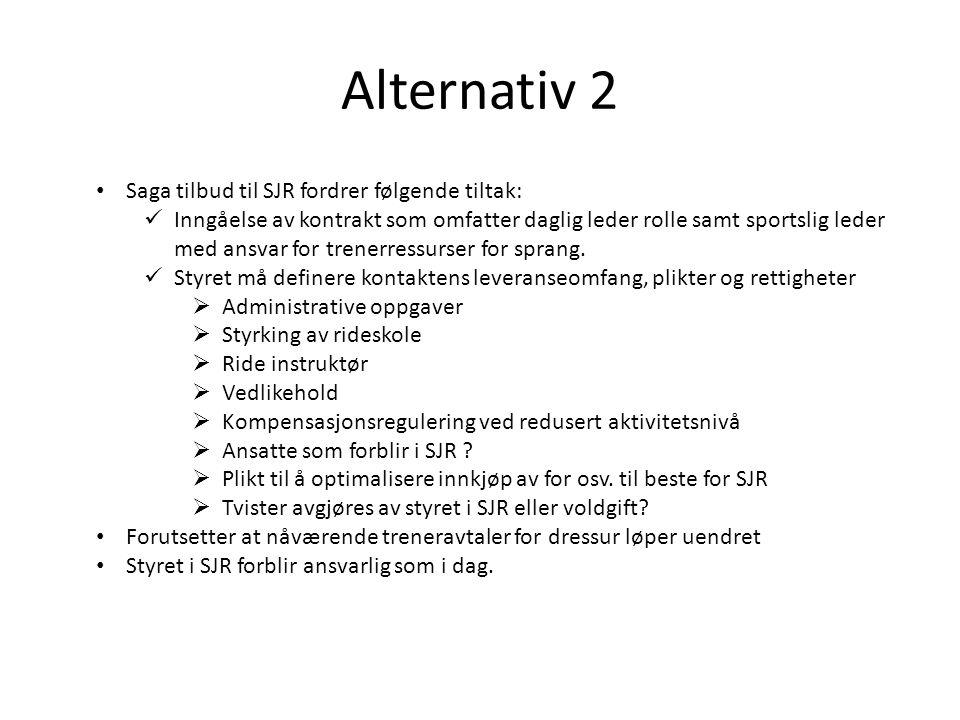 Alternativ 2 Saga tilbud til SJR fordrer følgende tiltak:
