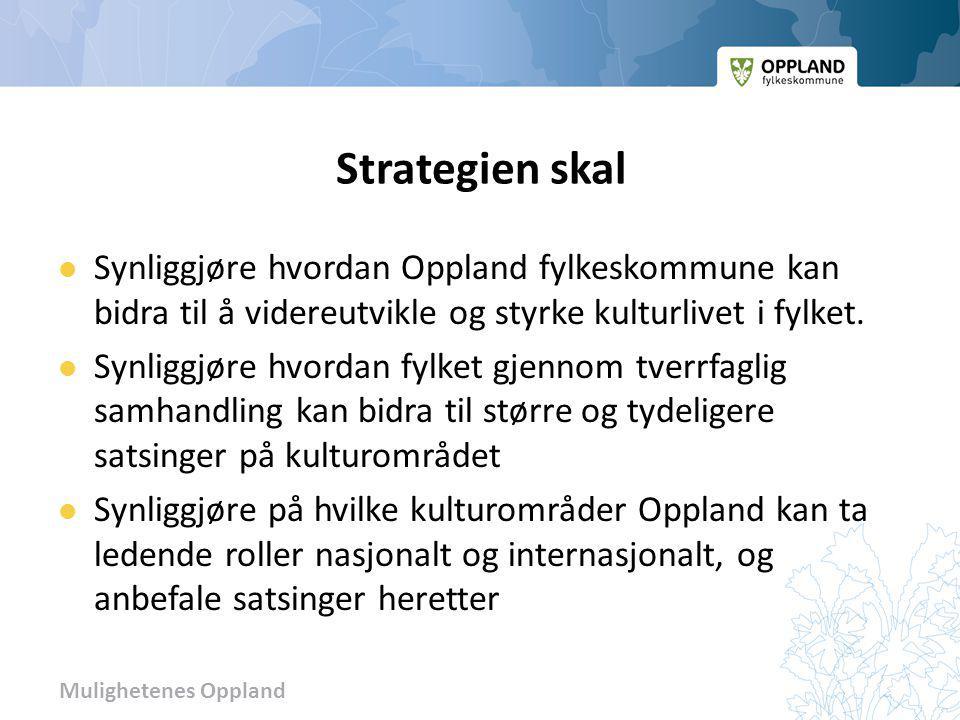 Strategien skal Synliggjøre hvordan Oppland fylkeskommune kan bidra til å videreutvikle og styrke kulturlivet i fylket.