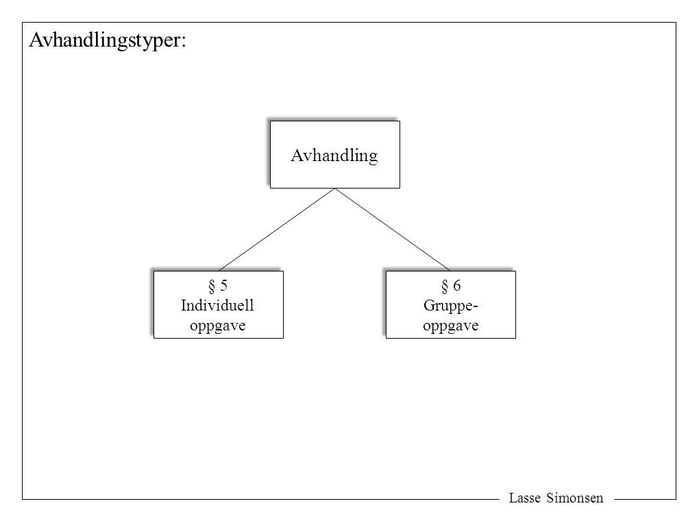 Avhandlingstyper: Avhandling § 5 Individuell oppgave § 6 Gruppe-