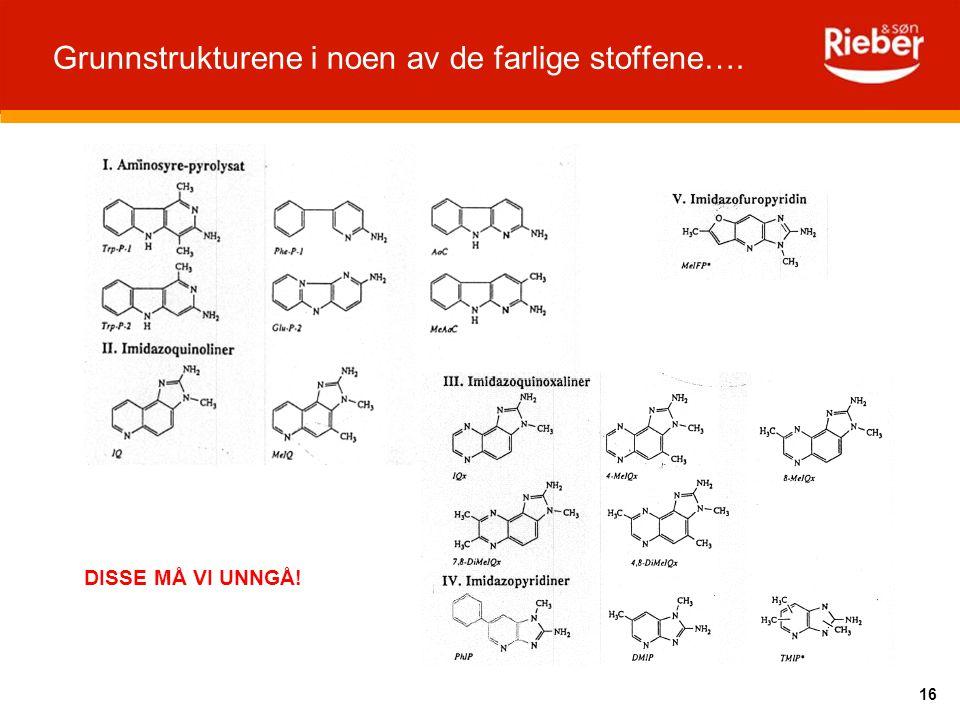 Grunnstrukturene i noen av de farlige stoffene….