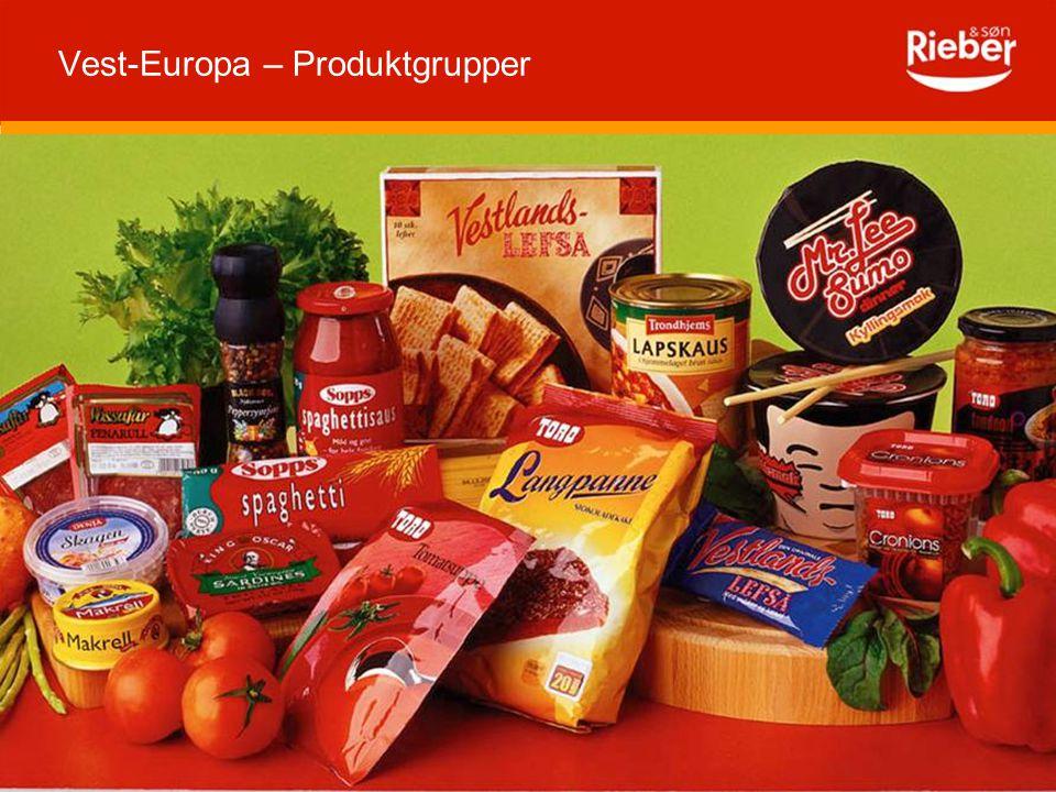 Vest-Europa – Produktgrupper