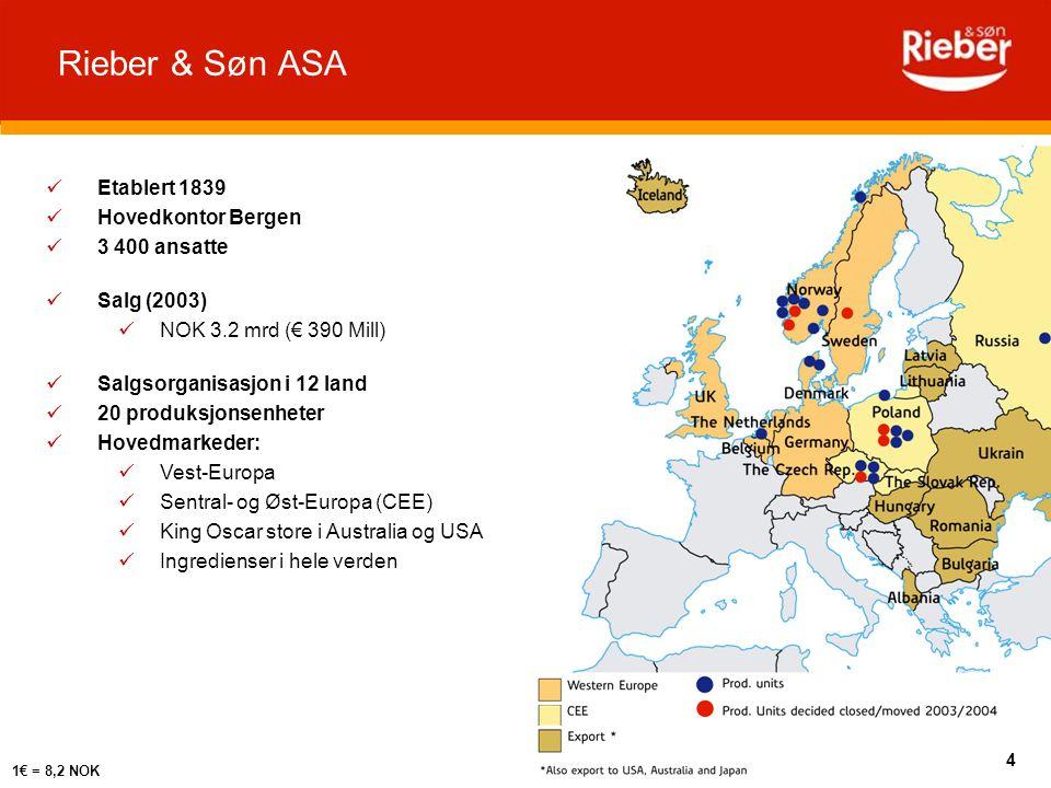 Salgsorganisasjon i 12 land 20 produksjonsenheter Hovedmarkeder: