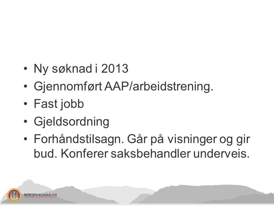 Ny søknad i 2013 Gjennomført AAP/arbeidstrening. Fast jobb. Gjeldsordning.