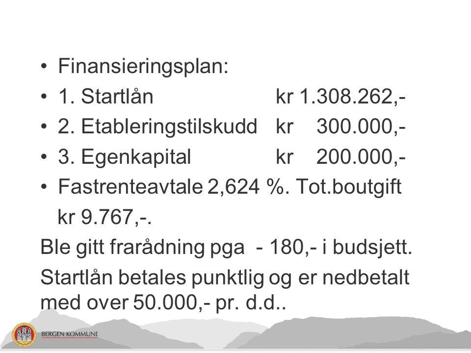 Finansieringsplan: 1. Startlån kr 1.308.262,- 2. Etableringstilskudd kr 300.000,- 3. Egenkapital kr 200.000,-