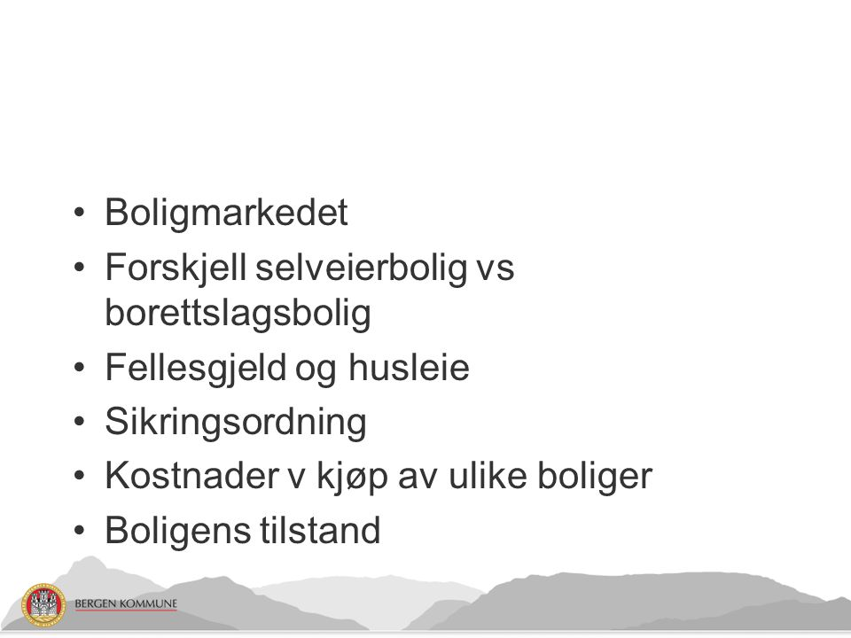 Boligmarkedet Forskjell selveierbolig vs borettslagsbolig. Fellesgjeld og husleie. Sikringsordning.