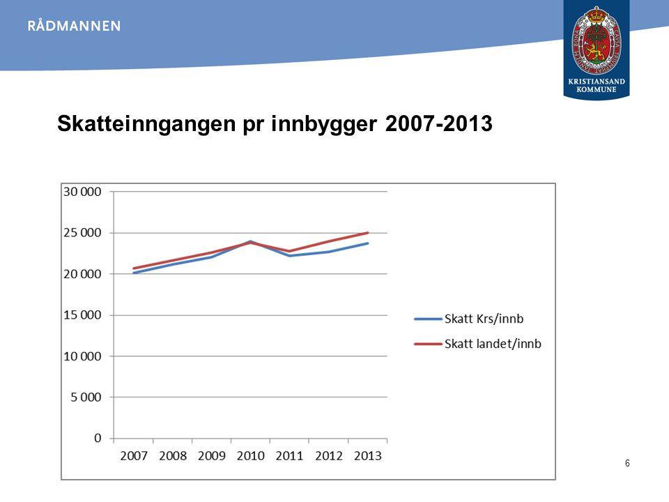 Skatteinngangen pr innbygger 2007-2013