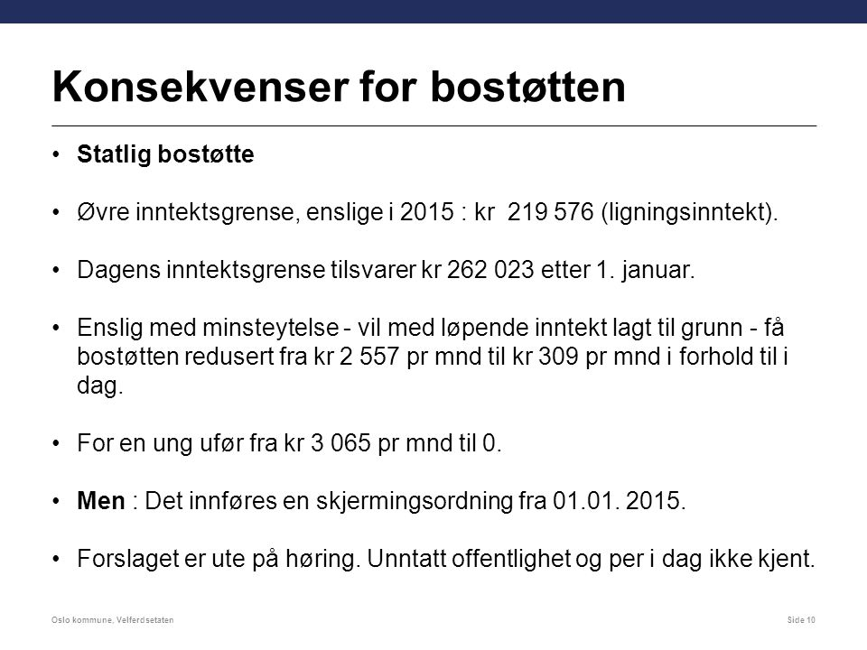 Konsekvenser for bostøtten