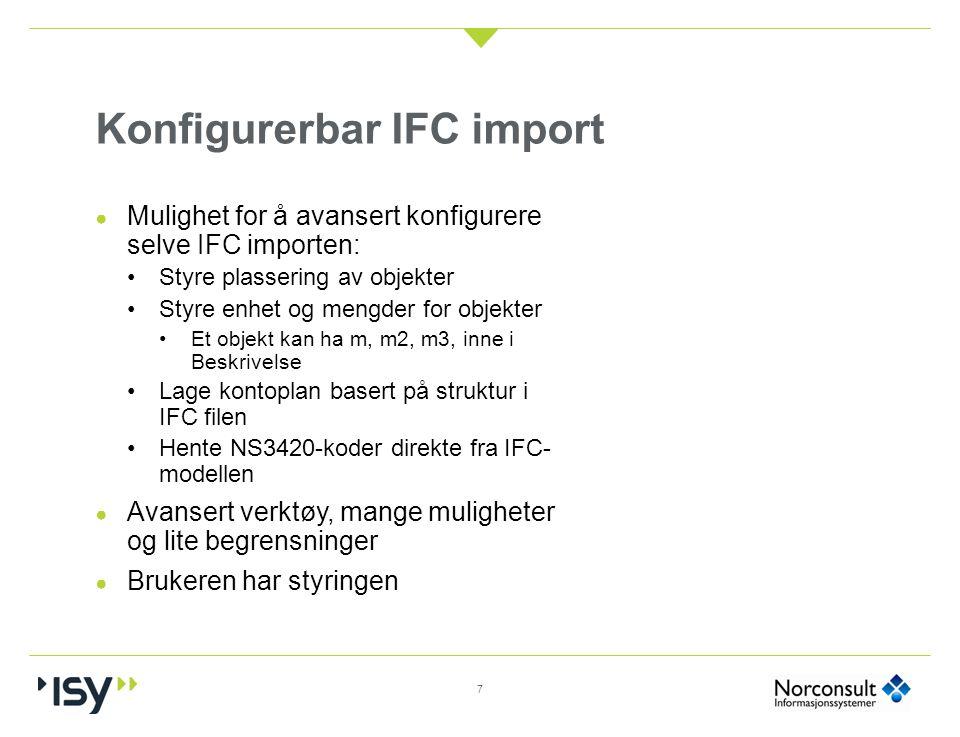 Konfigurerbar IFC import