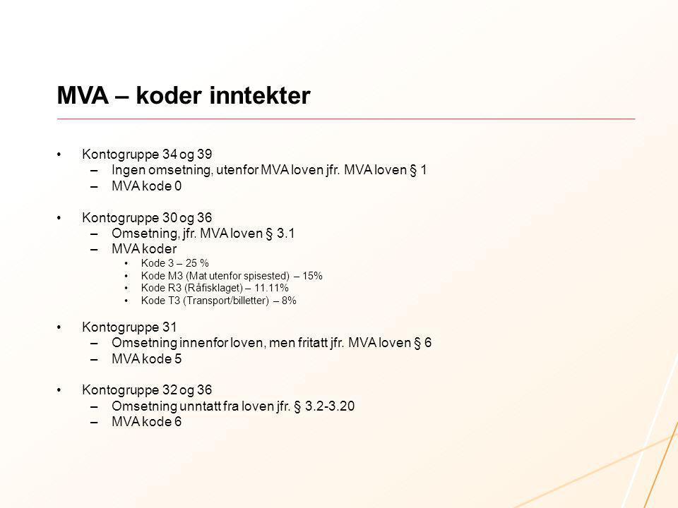 MVA – koder inntekter Kontogruppe 34 og 39