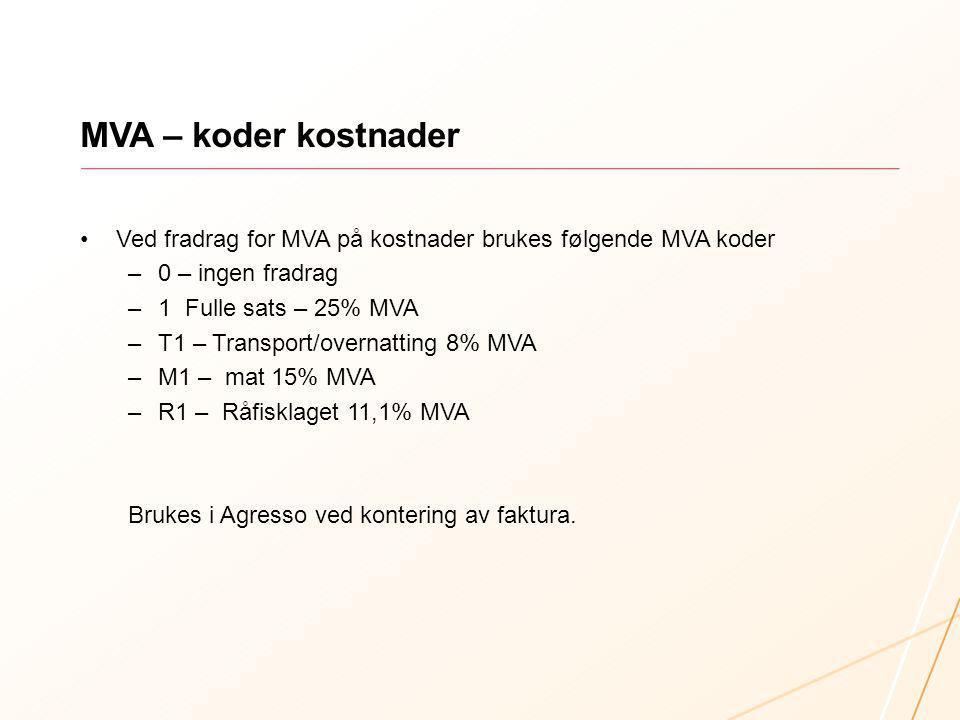 MVA – koder kostnader Ved fradrag for MVA på kostnader brukes følgende MVA koder. 0 – ingen fradrag.