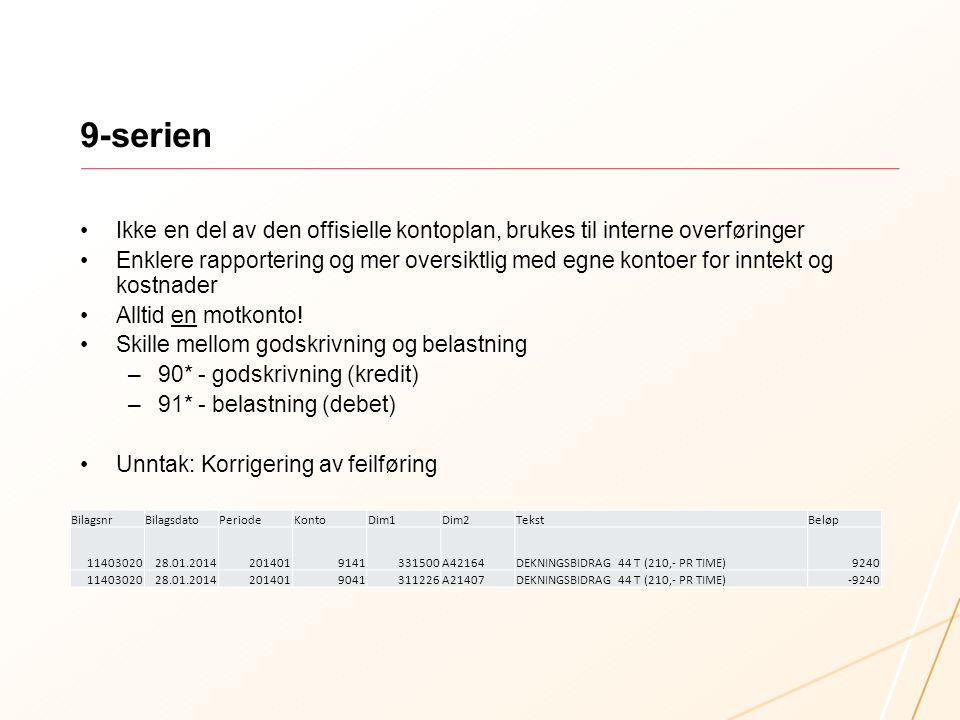 9-serien Ikke en del av den offisielle kontoplan, brukes til interne overføringer.