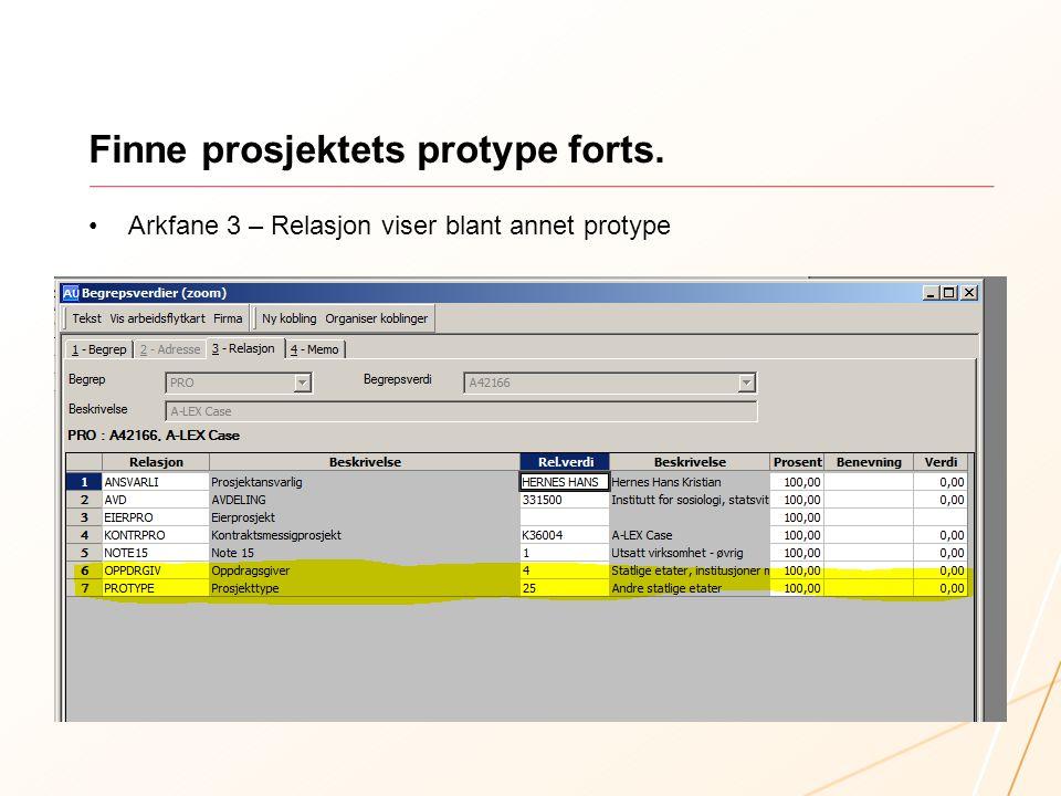 Finne prosjektets protype forts.