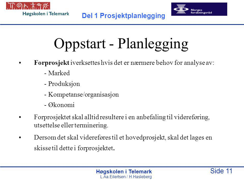 Oppstart - Planlegging