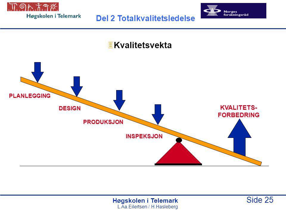Kvalitetsvekta Del 2 Totalkvalitetsledelse KVALITETS- FORBEDRING