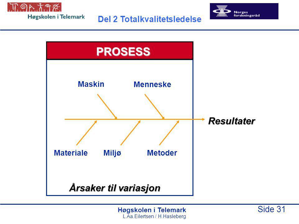 PROSESS Resultater Årsaker til variasjon Del 2 Totalkvalitetsledelse