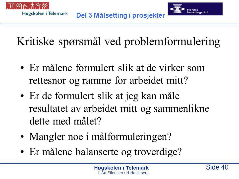 Kritiske spørsmål ved problemformulering