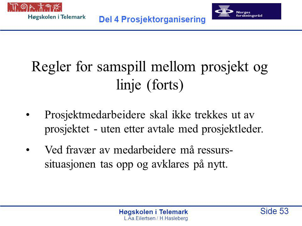 Regler for samspill mellom prosjekt og linje (forts)