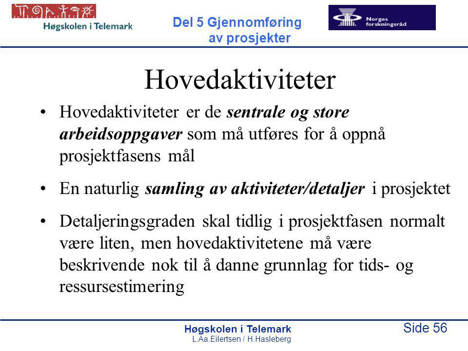Del 5 Gjennomføring av prosjekter. Hovedaktiviteter.