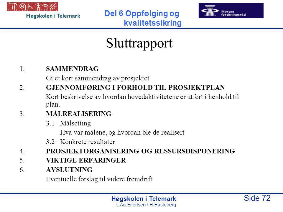 Sluttrapport Del 6 Oppfølging og kvalitetssikring 1. SAMMENDRAG