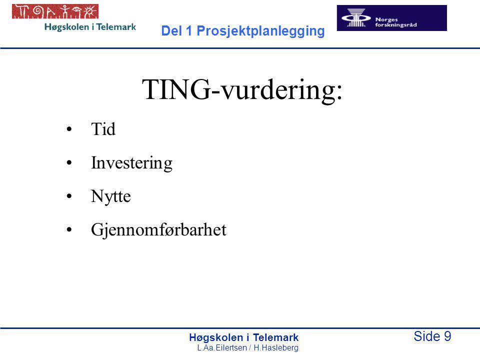 TING-vurdering: Tid Investering Nytte Gjennomførbarhet