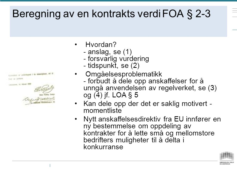 Beregning av en kontrakts verdi FOA § 2-3