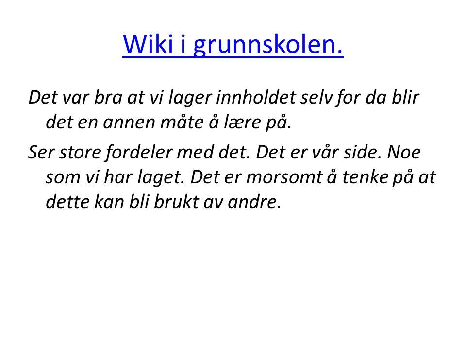 Wiki i grunnskolen.