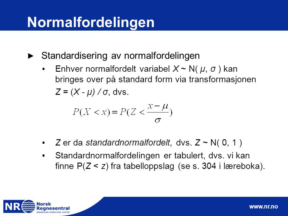 Normalfordelingen Standardisering av normalfordelingen