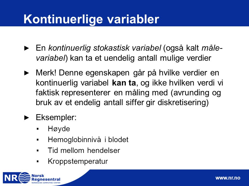 Kontinuerlige variabler