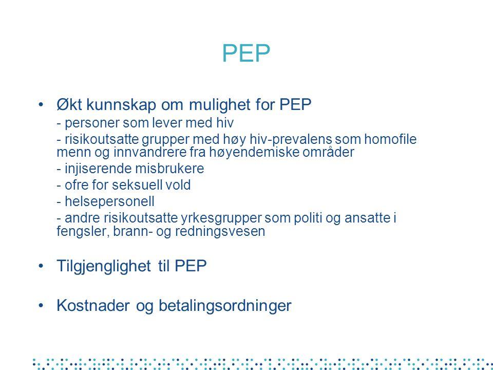 PEP Økt kunnskap om mulighet for PEP Tilgjenglighet til PEP