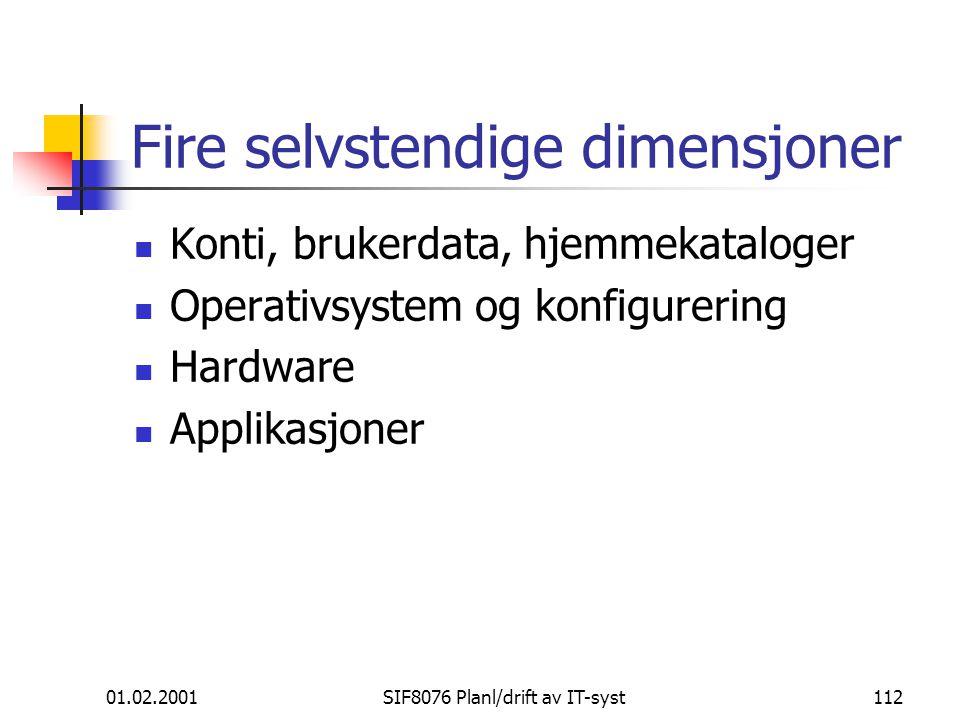 Fire selvstendige dimensjoner