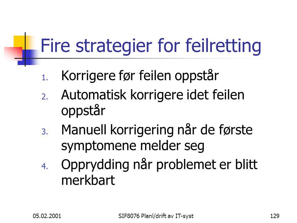 Fire strategier for feilretting