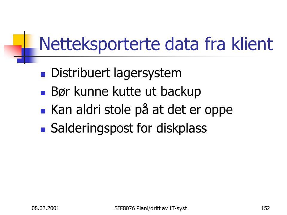 Netteksporterte data fra klient