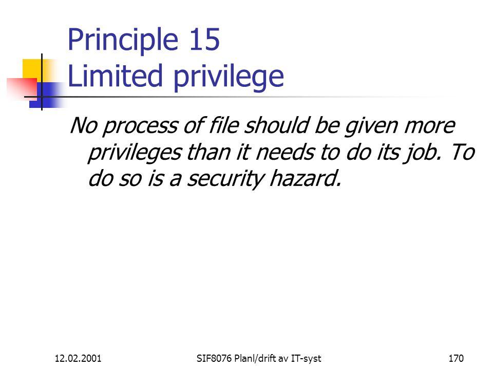 Principle 15 Limited privilege