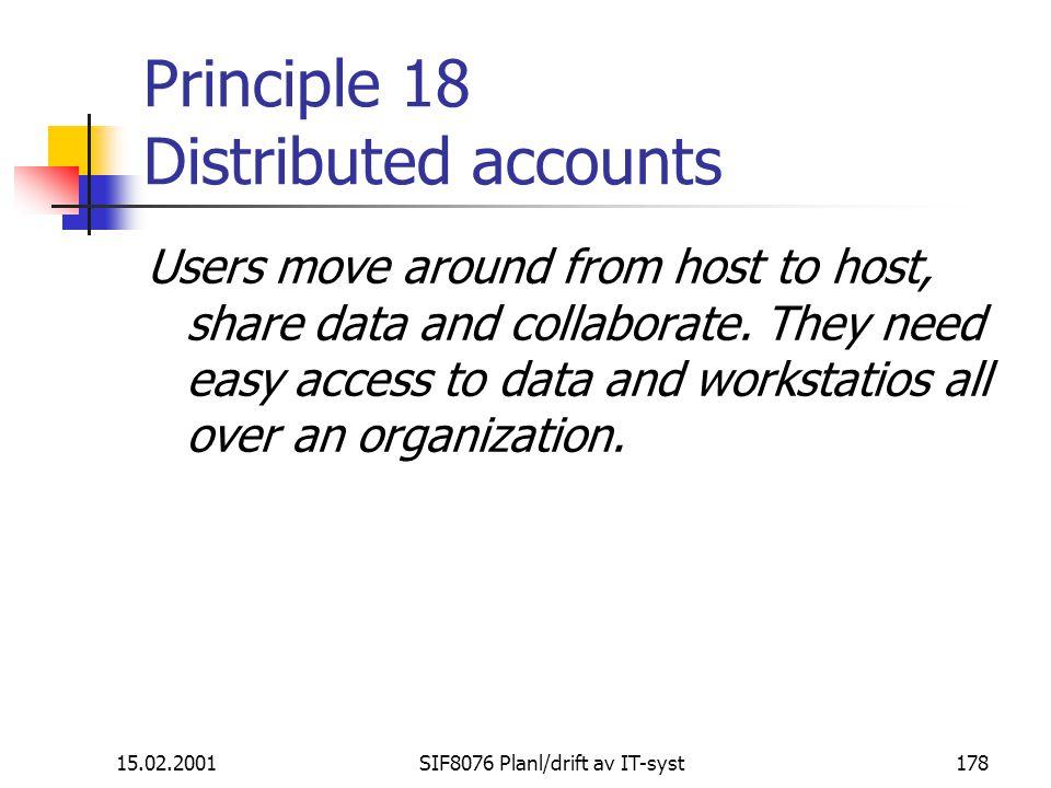 Principle 18 Distributed accounts